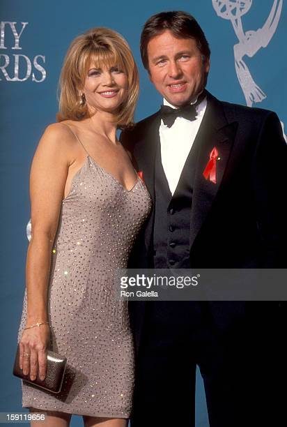 Actress Markie Post and actor John Ritter attend the 44th Annual Primetime Emmy Awards on August 30 1992 at Pasadena Civic Auditorium in Pasadena...