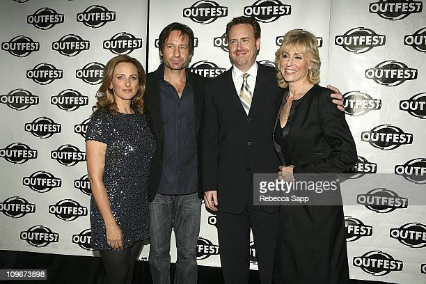 Actress Marlee Matlin actor David Duchovny President of Entertainment for Showtime Robert Greenblatt and actress Judith Light arrive at Outfests...