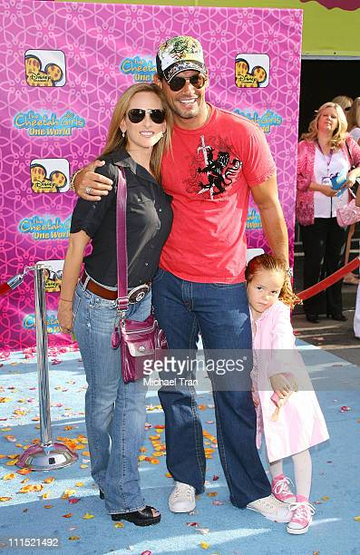 """Actress Marlee Matlin and Actor Cristian de la Fuente with daughter arrive at Disney Channel's """"The Cheetah Girls: One World"""" Los Angeles Premiere..."""