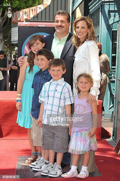 Actress Marlee Matlin and her husband Kevin Grandalski pose with their children Sarah Brandon Tyler 6 and Isabelle during the unveiling of Matlin's...