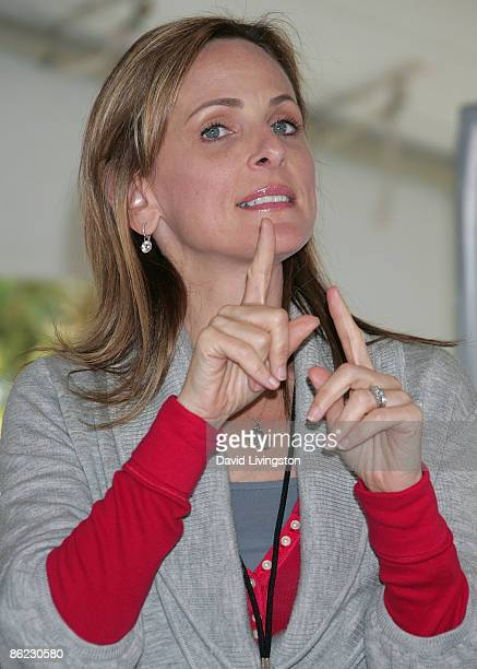 Actress Marlee Matlin appears on stage at the 14th annual Los Angeles Times Festival of Books Day 2 at UCLA on April 26 2009 in Los Angeles California