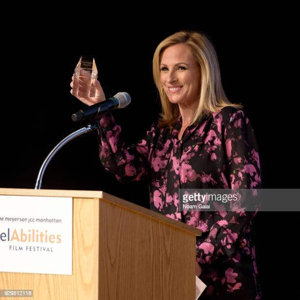 Actress Marlee Matlin receives the Spotlight Award at the 10th annual ReelAbilities Film Festival opening night at JCC Manhattan on March 8 2018 in...
