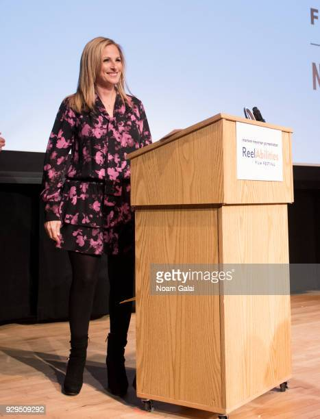 Actress Marlee Matlin speaks at the 10th annual ReelAbilities Film Festival opening night at JCC Manhattan on March 8 2018 in New York City