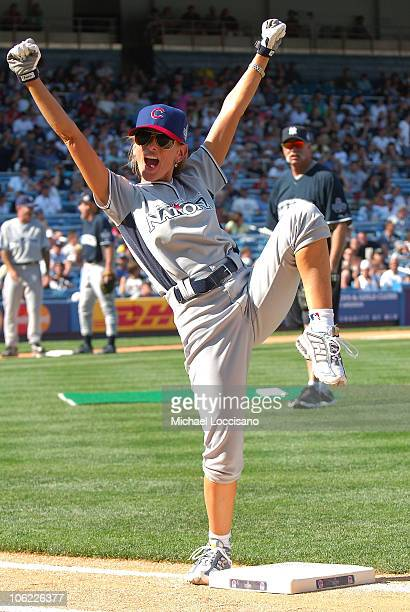 Actress Marlee Matlin takes part in the 2008 MLB AllStar Week Taco Bell AllStar Legends Celebrity Softball Game at Yankee Stadium on July 13 2008 in...