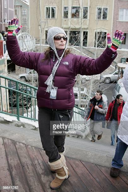 Actress Marlee Matlin walks on Main Street during the 2006 Sundance Film Festival January 21 2006 in Park City Utah