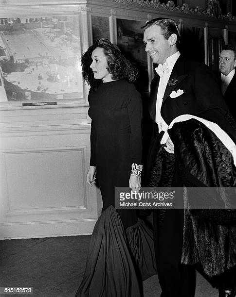 Actress Marlene Dietrich and actor Douglas Fairbanks Jr attend an event in Los Angeles California