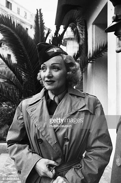 Actress Marlene Dietrich in military uniform in Algiers 1944