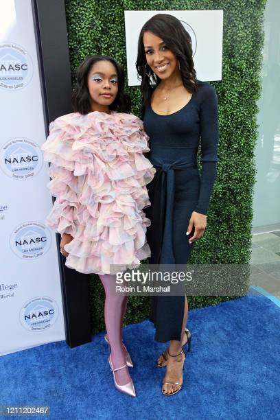 Actress Marsai Martin and Shaun Robinson attend the 2020 Sisters' Awards at Skirball Cultural Center on March 08 2020 in Los Angeles California
