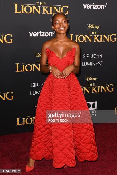 US actress Marsai Martin arrives for the world premiere of Disney's The Lion King at the Dolby theatre on July 9 2019 in Hollywood
