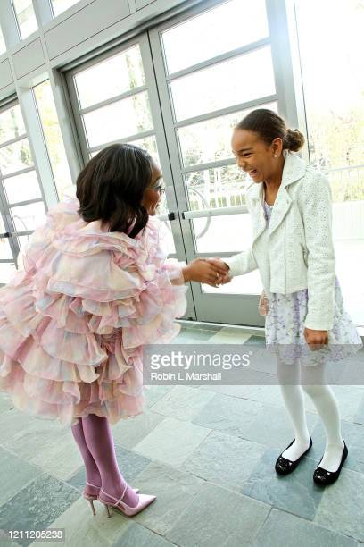 Actress Marsai Martin greets young student at the 2020 Sisters' Awards at Skirball Cultural Center on March 08 2020 in Los Angeles California