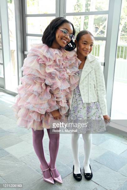 Actress Marsai Martin poses with young student at the 2020 Sisters' Awards at Skirball Cultural Center on March 08 2020 in Los Angeles California