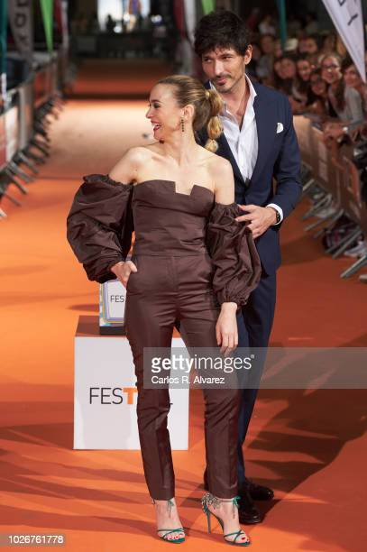 Actress Marta Hazas and actor Andres Velencoso attend 'Velvet Coleccion' premiere at the Principal Teather during the FesTVal 2018 on September 4...