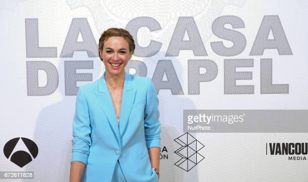Actress Marta Hazas attends the premiere of the TV series quotLa casa de papelquot at the Capitol Cinema on April 212017 in Madrid Spain