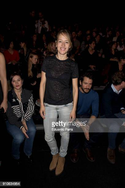 Actress Marta Larralde is seen at the The 2ND Skin Co show during MercedesBenz Fashion Week Madrid Autumn/ Winter 201819 at Ifema on January 26 2018...