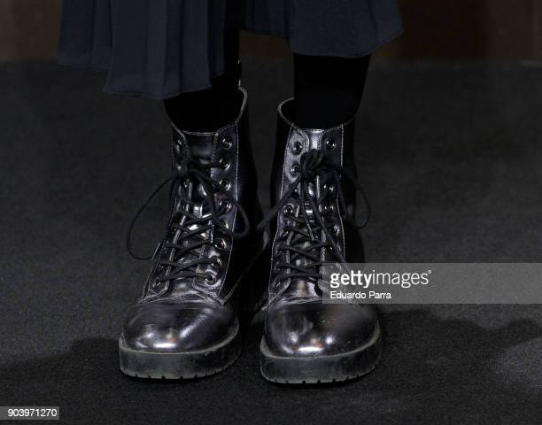 Actress Marta Nieto boots detail attends the 'La peste' premiere at Callao cinema on January 11 2018 in Madrid Spain