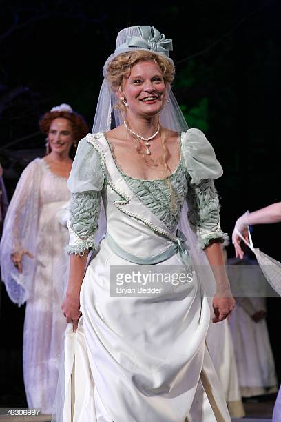 Actress Martha Plimpton takes a bow during curtain call at the opening of A Midsummer Night's Dream presented by the Public Theater at the Belvedere...