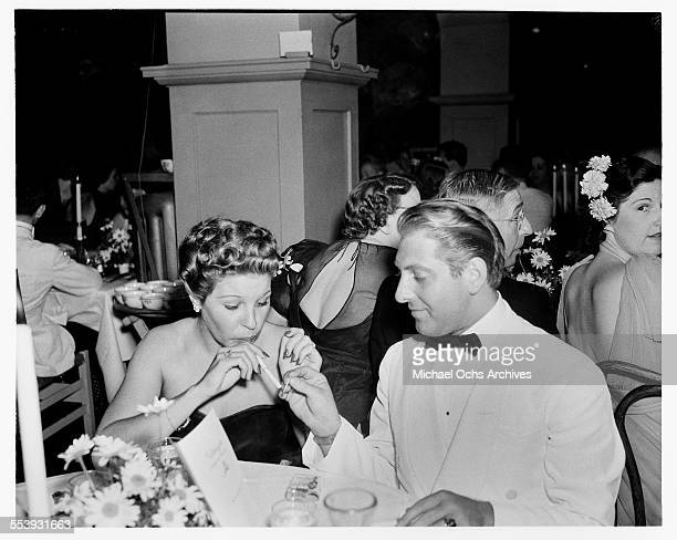 Actress Martha Raye and his husband composer David Rose attend an event in Los Angeles California