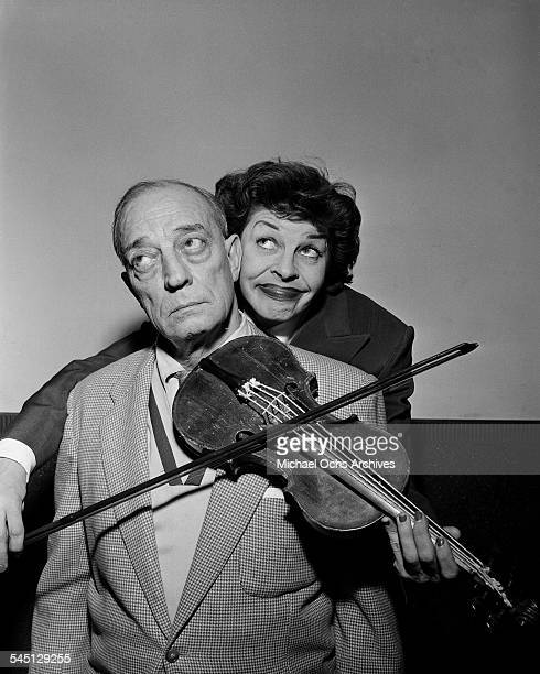 Actress Martha Raye poses with Buster Keaton for the 'Martha Raye Show' show hosted by Martha Raye in New York New York