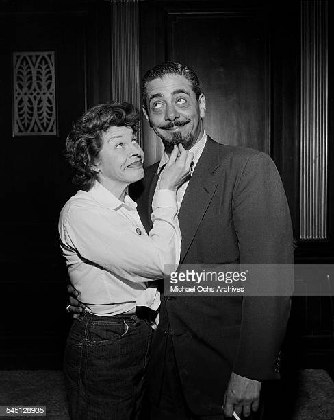 Actress Martha Raye poses with guest for the Martha Raye show hosted by Martha Raye in New York New York