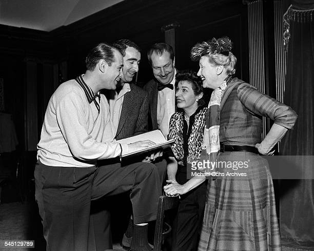 Actress Martha Raye poses with Hedda Hopper and Vincent Price for the The Martha Raye Show in New York New York