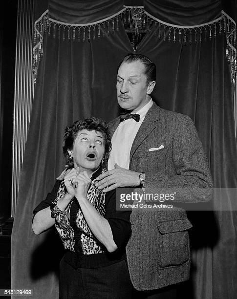 Actress Martha Raye poses with Vincent Price for the The Martha Raye Show in New York New York