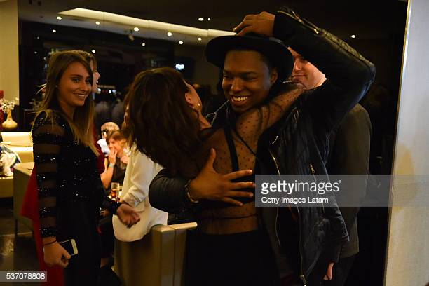 Actress Martina Stoessel hugs actor Samuel Nascimento during TINI El Gran Cambio de Violetta The Avant Premiere on May 31 2016 in Buenos Aires...