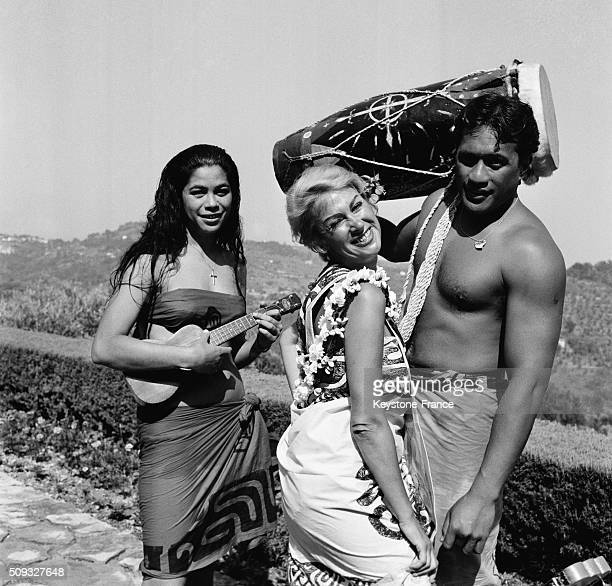Actress Martine Carol Back From Tahiti With Tahitian Friends In Her Estate Of Grasse On the French Riviera in Grasse France on August 13 1962