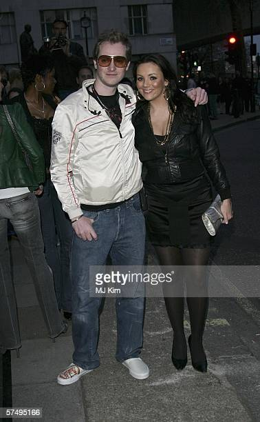Actress Martine McCutcheon and guest arrive at Gumball 3000 film premiere 2006 rally launch party at Savoy Place on April 29 2006 in London England