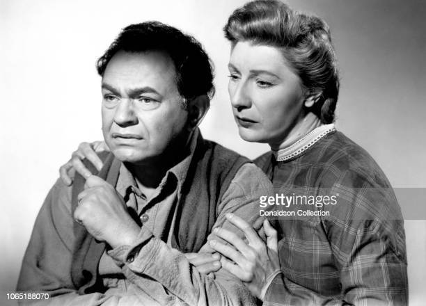 Actress Mary Anderson and Edward G Robinson in a scene from the movieThe Red House