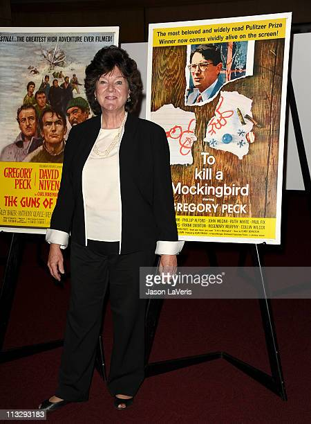 Actress Mary Badham attends the Gregory Peck commemorative stamp first day of issue ceremony at AMPAS Samuel Goldwyn Theater on April 28 2011 in...