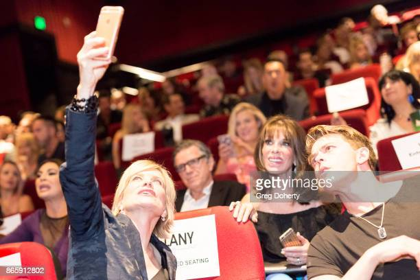 Actress Mary Beth Evans takes a selfie with Kate Linder and Chad Duell as they attend the Cast Premiere Screening Of Lany Entertainment's 'The Bay'...