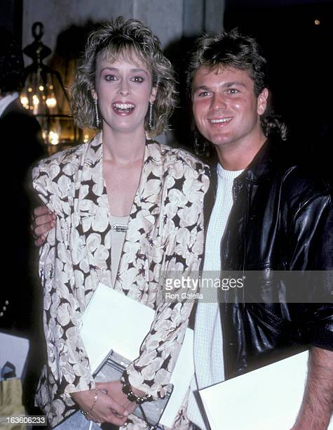 Actress Mary Cadorette and actor Sam Harris attend the Celebrity Focus Magazine Launch Party on August 7, 1986 at the Bel Age Hotel in West...