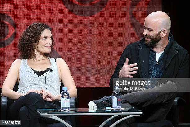 Actress Mary Elizabeth Mastrantonio executive producer Craig Sweeny speak onstage during the 'Limitless' panel discussion at the CBS portion of the...
