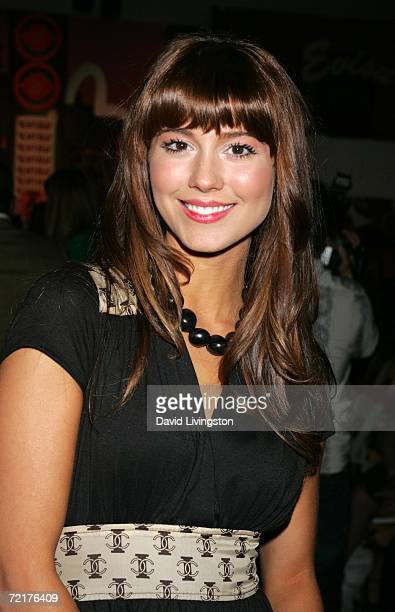 Actress Mary Elizabeth Winstead poses in the front row at Evisu Spring 2007 show during the Mercedes Benz Fashion Week at Smashbox Studios on October...