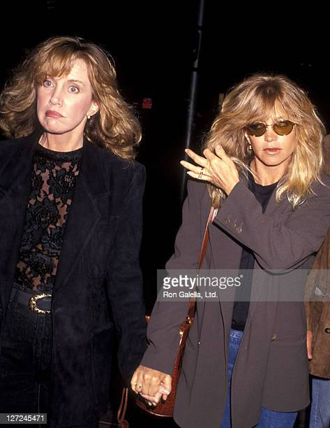 "Actress Mary Ellen Trainor and actress Goldie Hawn attend the ""Soapdish"" Westwood Premiere on May 23, 1991 at Mann National Theatre in Westwood,..."