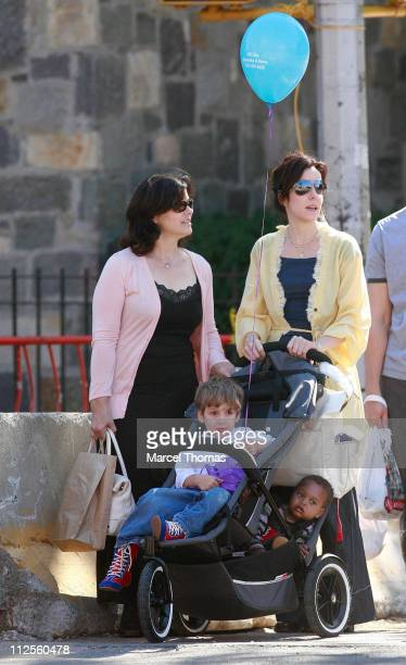 Actress Mary Louise Parker with her son William Atticus Parker her newly adopted daughter and her mother sighting walking in SOHO September 29 2007...