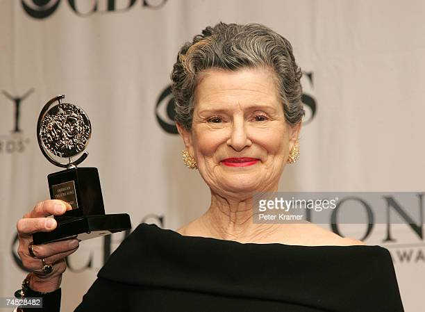 Actress Mary Louise Wilson poses with the award for Best Featured Actress In A Musical for Grey Gardens in the press room at the 61st Annual Tony...