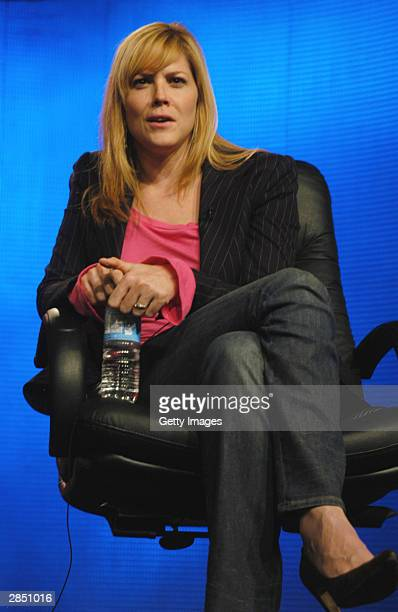 Actress Mary McCormack answers questions regarding her upcoming series 'Traffic' onstage at the USA Network winter TCA tour at the Renaissance Hotel...