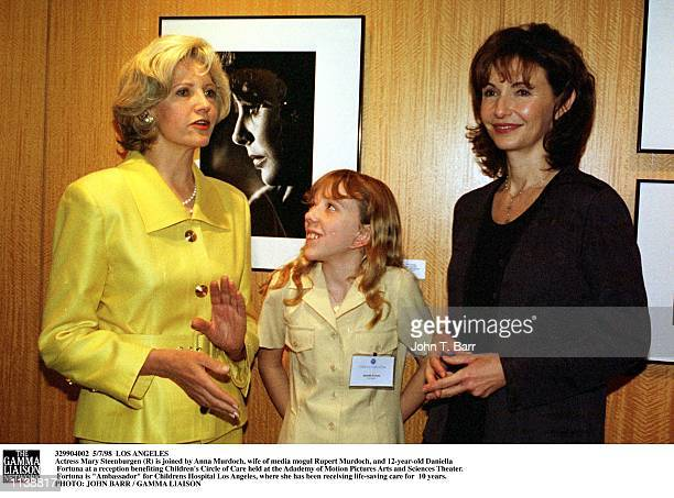 Actress Mary Steenburgen is joined by Anna Murdoch wife of media mogul Rupert Murdoch and 12yearold Daniella Fortuna at a reception benefiting...