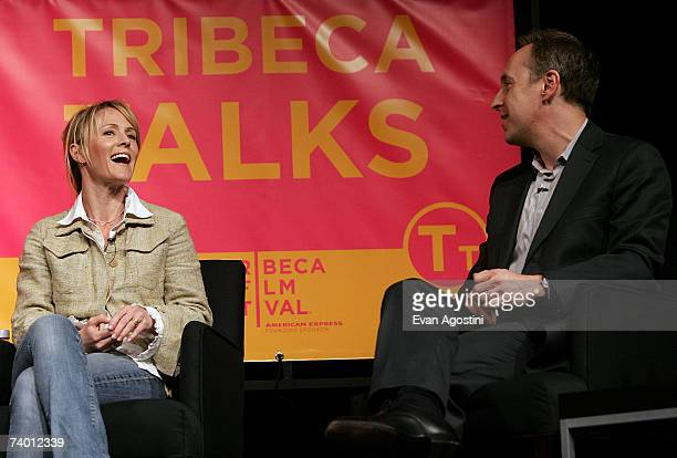 Actress Mary Stuart Masterson and moderator Jacob Weisberg speak during the Bringing Home The Bacon panel discussion at the 2007 Tribeca Film...