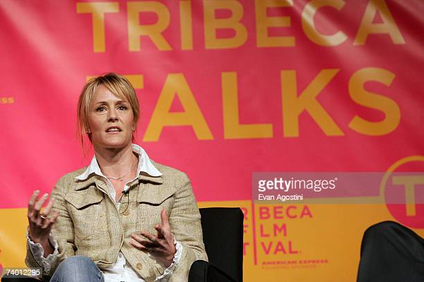 Actress Mary Stuart Masterson speaks during the Bringing Home The Bacon panel discussion at the 2007 Tribeca Film Festival on April 27 2007 in New...