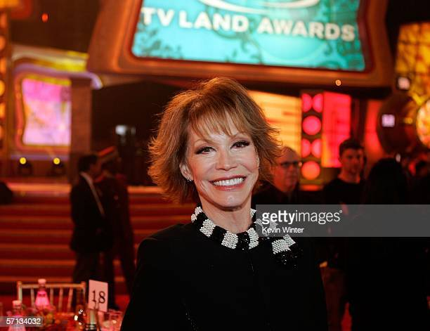 Actress Mary Tyler Moore poses backstage at the 2006 TV Land Awards at the Barker Hangar on March 19, 2006 in Santa Monica, California.