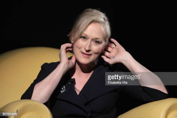 Actress Maryl Streep attends the Meryl Streep Masterclass during Day 8 of the 4th International Rome Film Festival held at the Auditorium Parco della...