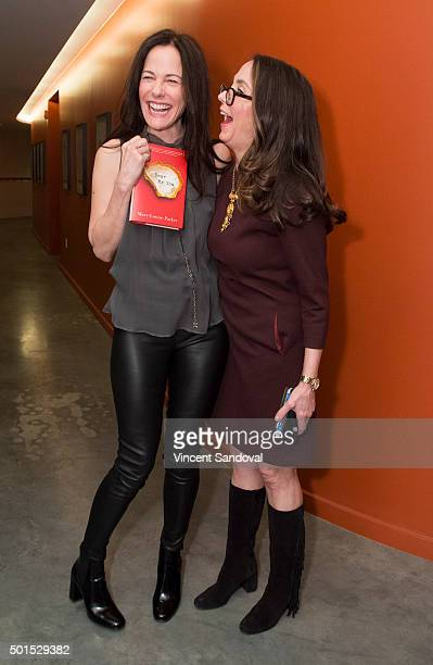 Actress Mary-Louise Parker and Author Mary Karr attend Live Talks L.A. Presents: An Evening With Mary-Louise Parker at Moss Theatre at New Roads...