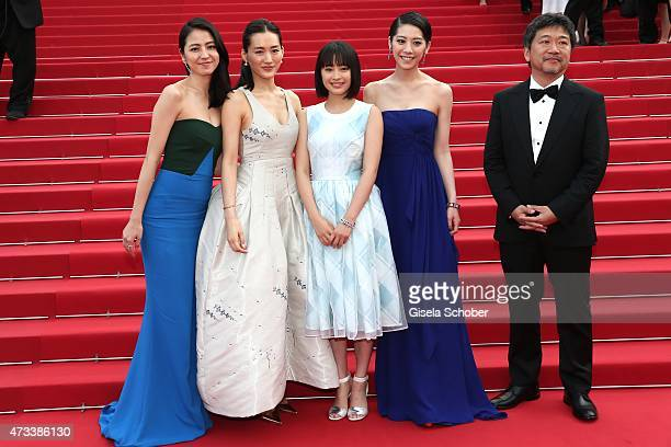 Actress Masami Nagasawa Haruka Ayase Suzu Hirose Kaho director Hirokazu Koreeda depart the Premiere of 'Umimachi Diary' during the 68th annual Cannes...