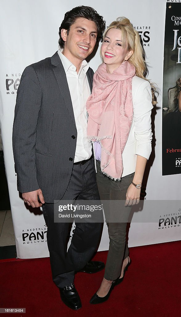 Actress Masiela Lusha (R) and guest attend the opening night of 'Jekyll & Hyde' at the Pantages Theatre on February 12, 2013 in Hollywood, California.