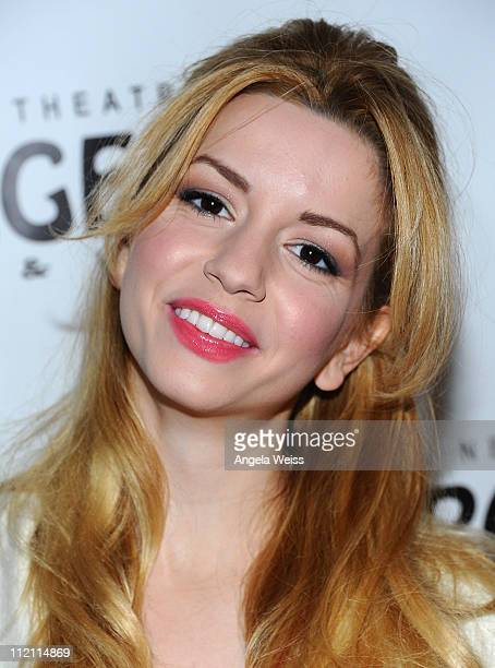 Actress Masiela Lusha arrives at the opening night of 'Rain A Tribute To The Beatles' at the Pantages Theatre on April 12 2011 in Hollywood California