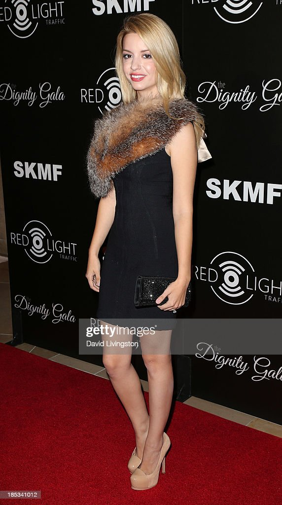 Actress Masiela Lusha attends the launch of the Redlight Traffic app at the Dignity Gala at The Beverly Hilton Hotel on October 18, 2013 in Beverly Hills, California.