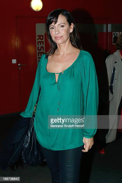 Actress Mathilda May backstage after Patrick Bruel's concert at Zenith de Paris on May 31 2013 in Paris France