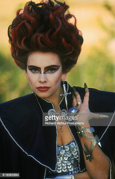 Actress Mathilda May wears an elaborate costume while filming a 1987 television movie in Rome The movie directed by G Guillot and produced by Ettore...